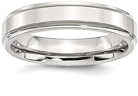 Stainless Steel Ridged-edge 5mm Polished Wedding Ring Band