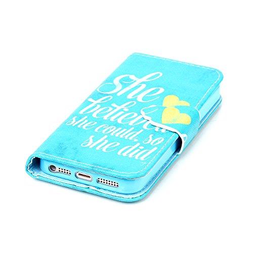 MOONCASE iPhone SE Coque, Modèle Case Portefeuille [Porte-cartes] Housse en Cuir Etui à rabat avec Béquille pour iPhone 5 / 5S / iPhone SE -YX05 YX06