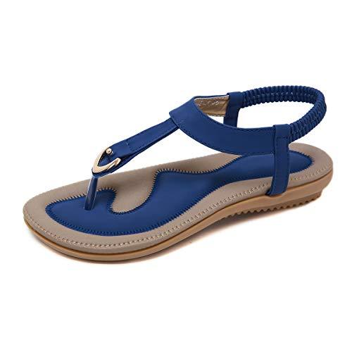 SANMIO Damen Sandalen Sommer Flach Sandaletten mit Strass Perlen Frauen Strand Boho Zehentrenner Frau Geschenk