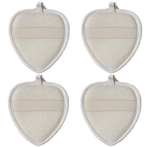 Frcolor 4pcs tampons éponges luffa gommage naturel outil de laveur de serviette de bain coeur forme
