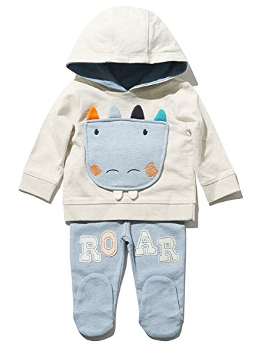 M&Co Newborn Boys Cotton Rich Long Sleeve Dinosaur Applique Hooded Sweater And Integrated Feet Jogger Set Oatmeal 6/9 Mnths