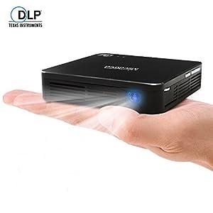 Mileagea Pico DLP Mini Projecteur Wifi 1080P 80 Lumens Full HD Portable Multimédia pour Home Cinéma Vidéo Film Smartphone TV Noir