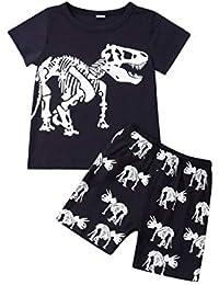 ea4c462e252 Little Boy Spring Summer Clothes Set Cartoon Dinosaur Print Round Neck  Short Sleeve T-Shirt