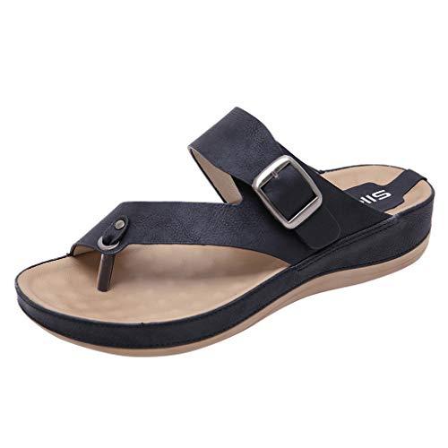 ZIYOU Damen Strand Hausschuhe, Sommer Peep-Toe Pantoffeln mit Metall Gürtelschnalle Komfortable Flach Schuhe(Schwarz,38 ()