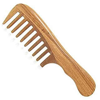 ACMEDE Sandelholz hölzerne Haar Kamm anti-Statik Griffkamm Breite Zähne für lockiges Haar