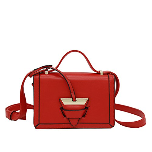 Borse In Pelle Spalla Diagonale Piccolo Quadrato Mini Pacchetto Donne Ragazze,Black Red