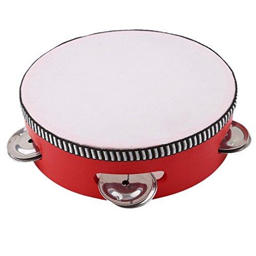 kemai Musical Tamburin Drum, pädagogische hölzerne Musical Tamburin Drum Beat Instrument Hand Trommel Kinder, rot