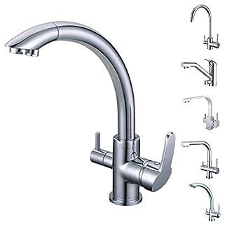 415VsJTyMfL. SS324  - smardy DUO304 Caño Giratorio 360° Grifo 3 Vias para osmosis inversa Agua Purificada (RO) Mangueras Conexión 3/8