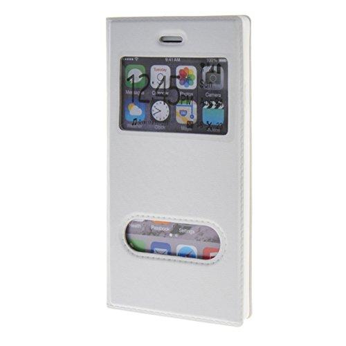 """MOONCASE Étui pour Apple iPhone 6 Plus (5.5"""") Cuir Coque en Housse de Protection Étui à rabat Case Noir01 Blanc01 #0201"""