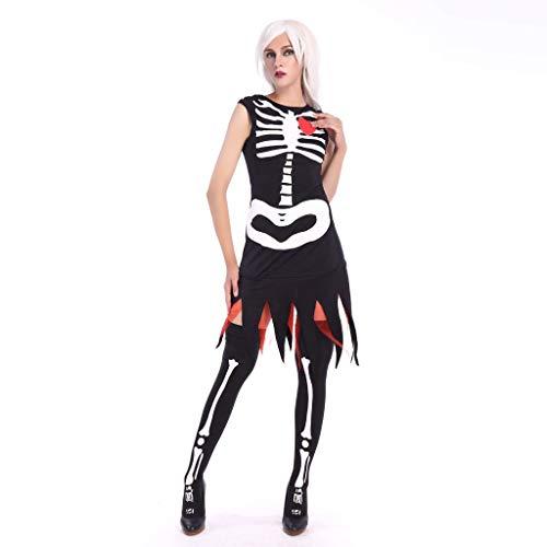 HEFYBA Damen Hexenkostüm Halloween Kostüm Königin Hexenkostüm Gothic Skelett schwarz Vampirrock Gr. UK 14, - Konservative Frauen Kostüm