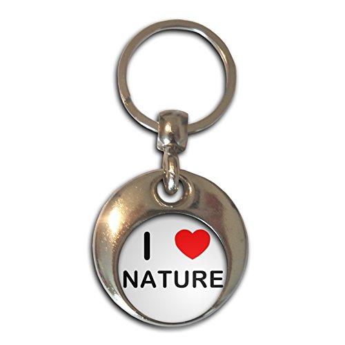 I love Nature - Chrom runden doppelseitigen Schlüsselanhänger (Chrom Natur)