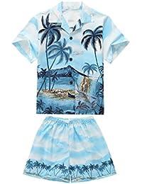 Hecho en Hawaii Luau Aloha Camisa y Pantalones Cortos Chico Juego de Cabaña Palma Borde Azul