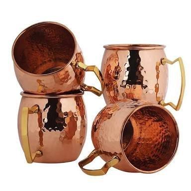 hecho-a-mano-de-cobre-puro-martillado-moscow-mule-taza-juego-de-4-tazas-de-cafe