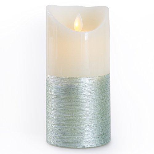 Gideon & # 8482; 7pulgadas–Vela LED de cera real sin llama & Real parpadeo vela de Motion–con Mando a Distancia multifunción (on/off, temporizador, regulador de), aroma de vainilla, 2tonos, color verde/blanco