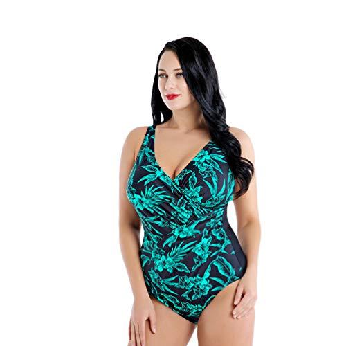 YuanDiann Damen Große Größen Blumendrucken Einteiliger Bikini Rückenfrei Gepolstert Bügelloser Monokini Bademode Sehr Elastisch Badeanzug Badebekleidung Für Mollige Frauen Grün 56
