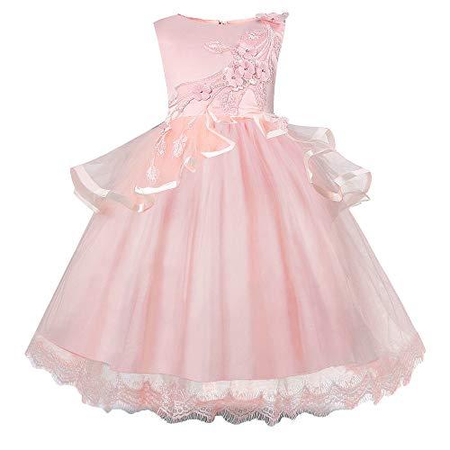 Beikoard Kleinkind Kinder Baby Mädchen Santa Print Prinzessin Kleid Weihnachten Outfits Weihnachtsmann Schneemann Party Abendkleid Brautjungfer Kleider (Rosa, 120)