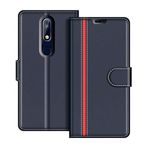coodio Nokia 7.1 Hülle Leder, Nokia 7.1 Lederhülle Ledertasche Wallet Handyhülle Tasche Schutzhülle mit Magnetverschluss/Kartenfächer für Nokia 7.1 / Nokia 7 2018, Dunkel Blau/Rot