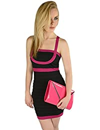 Womens Bandage Pleated Bodycon Designer Party Cocktail Dress Ladies Size