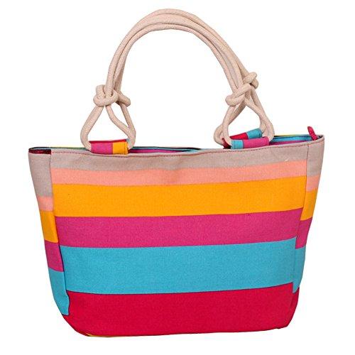 Fortuning's JDS® Strisce rosse di tela alla moda borsa stampato il sacchetto della signora dell'ufficio stile strisce rosse