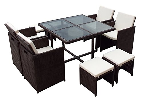 9 PC Rattan Cube Set Glass Top Garden Home Furniture Dining Table Chairs 8