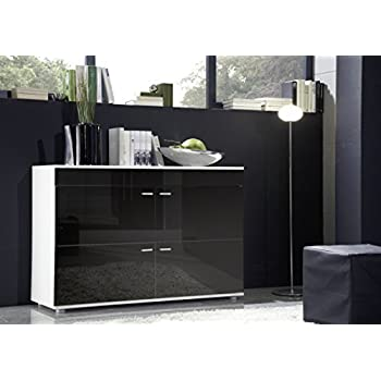 High Gloss Sideboard With 4 Doors | Modern Design | Contemporary Living  Room Furniture (Black Part 93