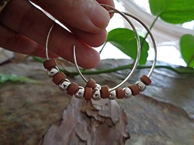 ? LARGEUR CREOLS TABLES BOHO FICHE BOHO 4,5 CM ? Boucles d'oreilles de style Bali en argent et sable argent, beige, sable
