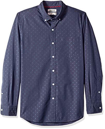 Goodthreads Herren Slim Fit Dobby-Hemd mit langen Ärmeln, Blau (Navy Dot Dot), X-Large - Dobby Dot