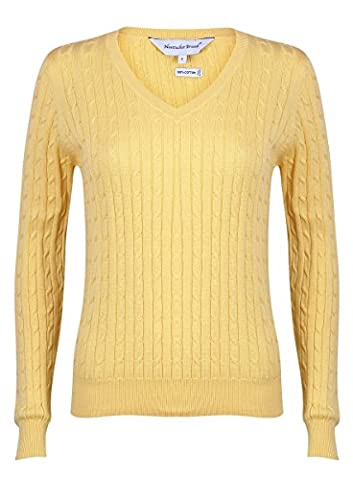 Nantucket Brand Clothing Women'S Cotton Cable Knit V-Neck Sweater