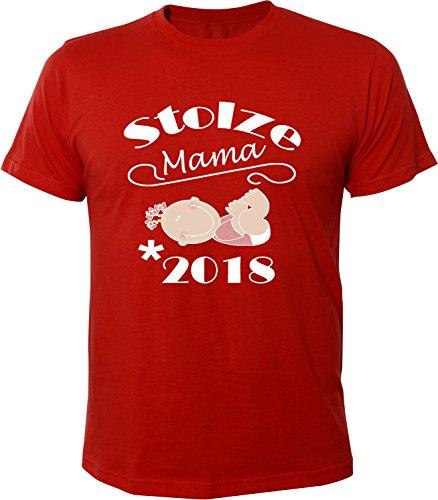 Mister Merchandise Herren Men T-Shirt Stolze Mama - 2018 Tee Shirt bedruckt Rot