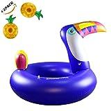 wanxing Aufblasbarer Tukan Vogel Schwimmring Sicherheits-Hilfe Weich und Langlebig Für Erwachsene und Kinder Blau (175cm * 120cm)