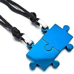 Idea Regalo - MunkiMix 2 PCS Acciaio Inossidabile Pendente Ciondolo Collana Blu Jigsaw Puzzle Amore San Paar Lui & Lei Set Regolabile 20~22 Pollici Catena Catenina Uomo,Donna