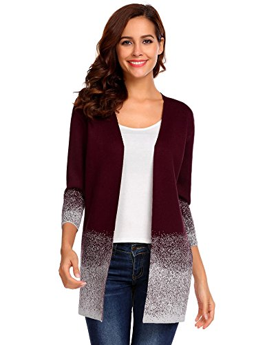 Meaneor Women's Long-sleeved Cardigan Sweater Casual Open Front Drape Long Cardigan (Cardigan Lightweight Open-front)