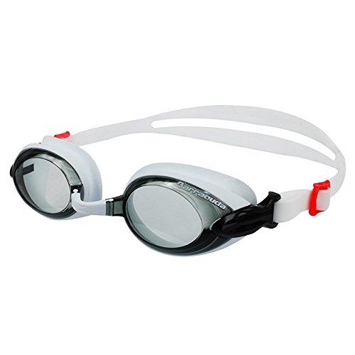 Dr.B Barracuda RX - Optische Schwimmbrille mit Sehstärke für Damen und Herren, 100% UV-Schutz, Anti-Beschlag-Beschichtung #92295 (Weiß, -3.0)