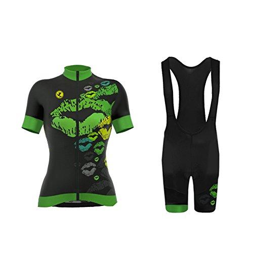 Uglyfrog ZO04 2018 New Fahrradtrikot Damen Kurzarm Trikots +Trägerhosen with Gel Pad Set Atmungsaktiv/Mund Sexy Design Radsport Bekleidung