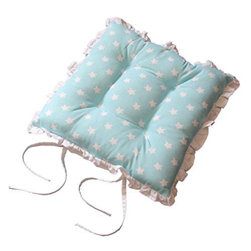 Homescapes Rüschenkissen zum Wenden 40 x 40 cm Stuhlkissen mit Bändern Stars blau Sitzkissen mit Rüschen (Band Rüsche)