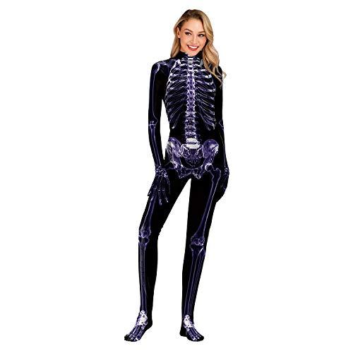 FUNFSEX Unisex Skelett Overall Damen Knochen Skeleton Halloween Kostüm Bodysuit Anzug Karneval Fasching, - Für Erwachsenen Knochen Bodysuit Kostüm
