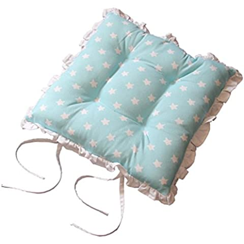 Homescapes Reversible Frilled Tie-on Seat Pad 40 x 40cm Blue Stars Design Chair Pad Cushion with Ties and Ruffles by Homescapes