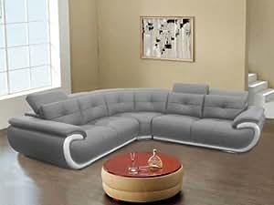 Canapé d'angle 6 places en cuir SMILEY - Bicolore gris et blanc