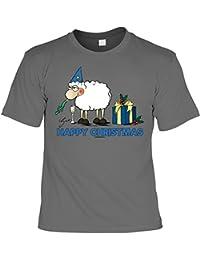 Weihnachten Weihnachtsshirt T-Shirt Silvester Schaf HAPPY CHRISTMAS Weihnachtsmotiv bedruckt Advent Weihnachtszeit Nikolaus in anthrazit : )