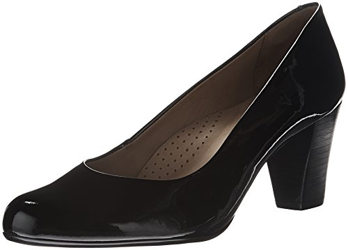 Hush Puppies Womens/Ladies Alegra Slip On Leather Mid Heel Court Shoes Schwarz