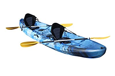 Bluefin Tandem 2+1 Sit On Top Fishing Kayak| With Rod Holders, Storage Hatches, Padded Seat & Paddle … by Bluefin Kayaks