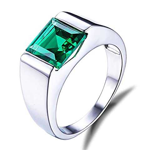 Jewelrypalace Men's 3.4ct Nano Simulated Emerald Ring Solid 925 Sterling Silver Size V