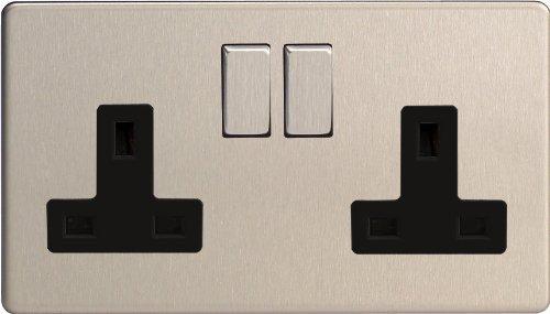 XDS5BS - Varilight - Flat Plate Screwless - Brushed Chrome - 2 Gang 13A Plug Socket - Metal & Black Inserts by Varilight
