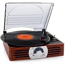 auna TT-83N tocadiscos con radio FM (33/45 RPM, salida de línea RCA estéreo, inicio y parada automáticos) - madera oscura