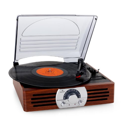 auna TT-83N • lettore di dischi con altoparlante • lettore di dischi • azionamento a cinghia • 33/45 giri al minuto • adattatore mandrino • automatico on-off • retro • radio FM • stereo • marrone