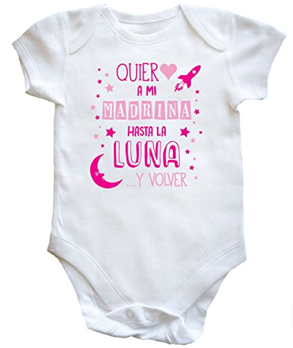HippoWarehouse ¡Quiero a mi Madrina hasta la Luna y volver! (Rosa) body bodys pijama niños niñas unisex