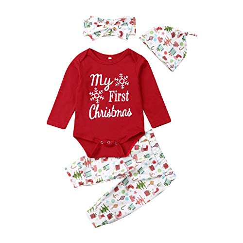 CYICis Xmas Baby Mädchen Junge Outfits My 1st Christmas Langarm Brief Strampler Gestreifte Hose Hat Haarband 4PCS Pyjamas (6-9 Monate, Rot)