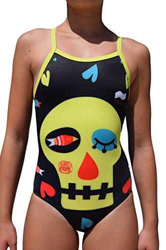 Swimgo Skull Design Bañador de Entrenamiento, diseño de Calavera, L-32 13-14 años