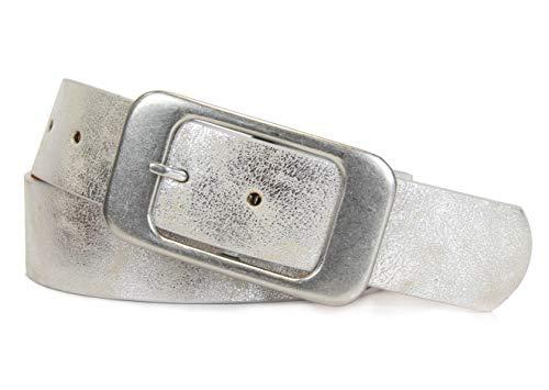 Vanessa & Melissa Schlichter Damen Gürtel mit klassischer silberner Schnalle, Breite ca. 3,7 cm -
