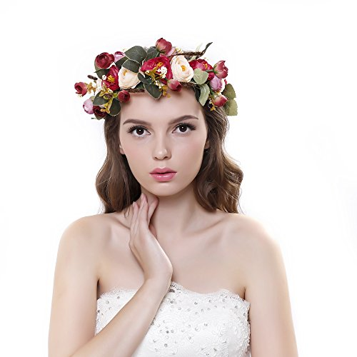 Ever Fairy® Flower Crown Headband with Adjustable Ribbon for Women Girls Hair Accessories